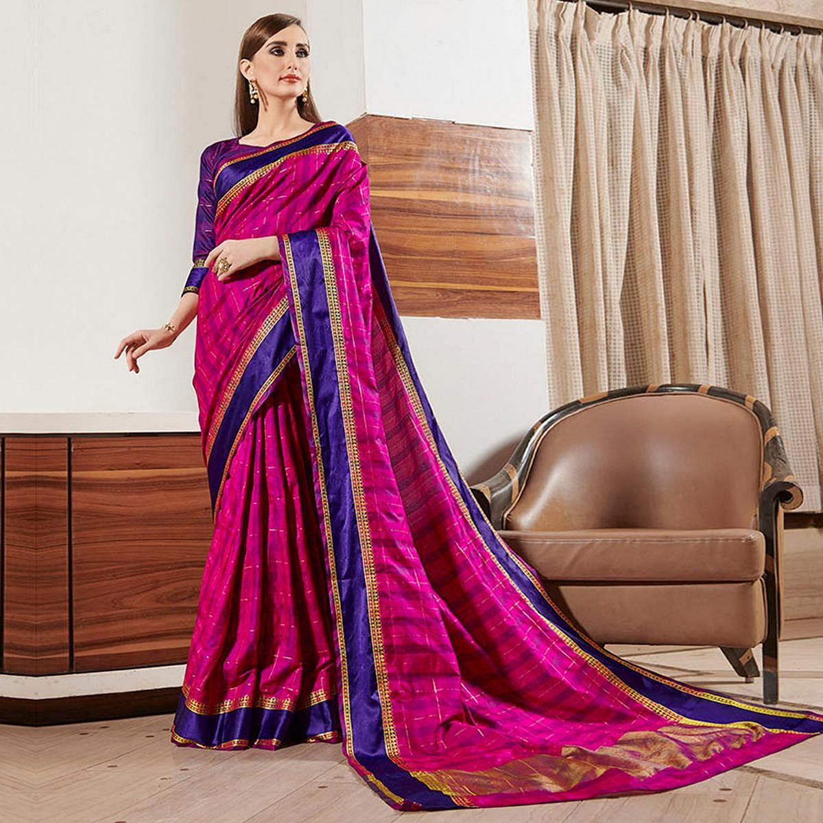 Fantastic Rani Pink Colored Festive Wear Woven Silk Saree