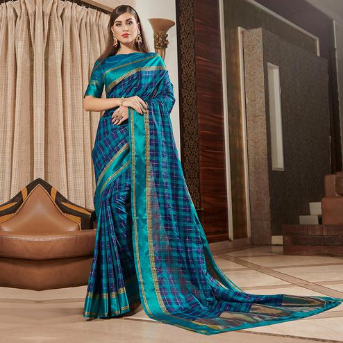 Amazing Blue Colored Festive Wear Woven Silk Saree