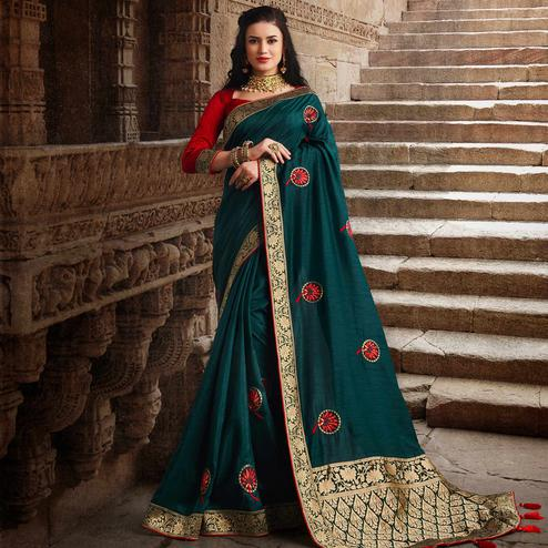 Glorious Teal Green Colored Partywear Embroidered Silk Saree