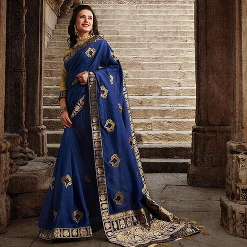 Blooming Navy Blue Colored Partywear Embroidered Silk Saree