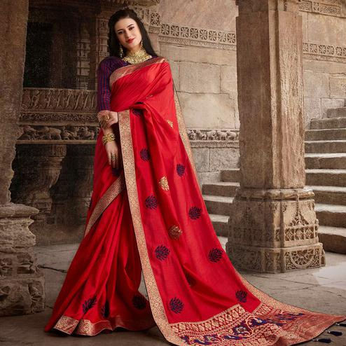 Charming Red Colored Partywear Embroidered Silk Saree