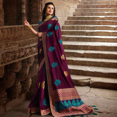 Jazzy Purple Colored Partywear Embroidered Silk Saree