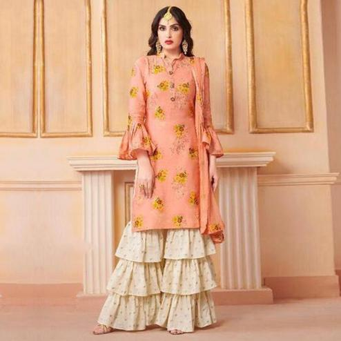 Beautiful Pink Colored Party Wear Printed Art Silk Sharara Suit