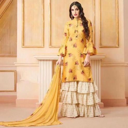 Graceful Yellow Colored Party Wear Printed Art Silk Sharara Suit
