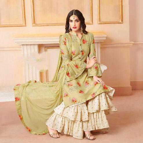 Blooming Green Colored Party Wear Printed Art Silk Sharara Suit