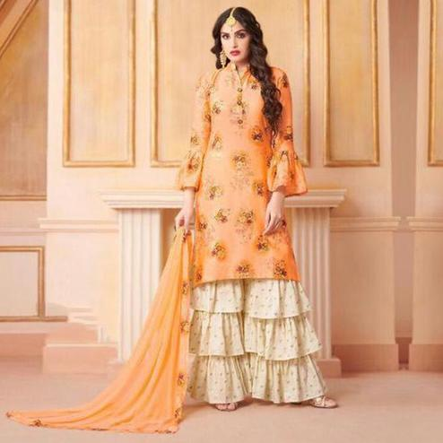 Jazzy Peach Colored Party Wear Printed Art Silk Sharara Suit