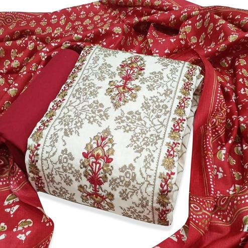 Ethnic Off White-Red Colored Partywear Embroidered Modal Dress Material
