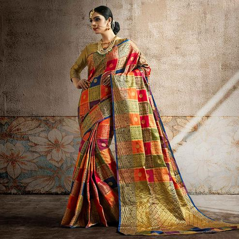 Fantastic Red-Multi Colored Festive Wear Woven Banarasi Silk Saree