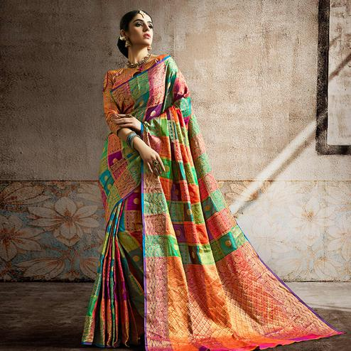 Majesty Multi Colored Festive Wear Woven Banarasi Silk Saree