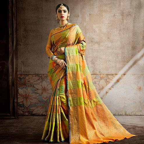 Imposing Lemon Green-Multi Colored Festive Wear Woven Banarasi Silk Saree