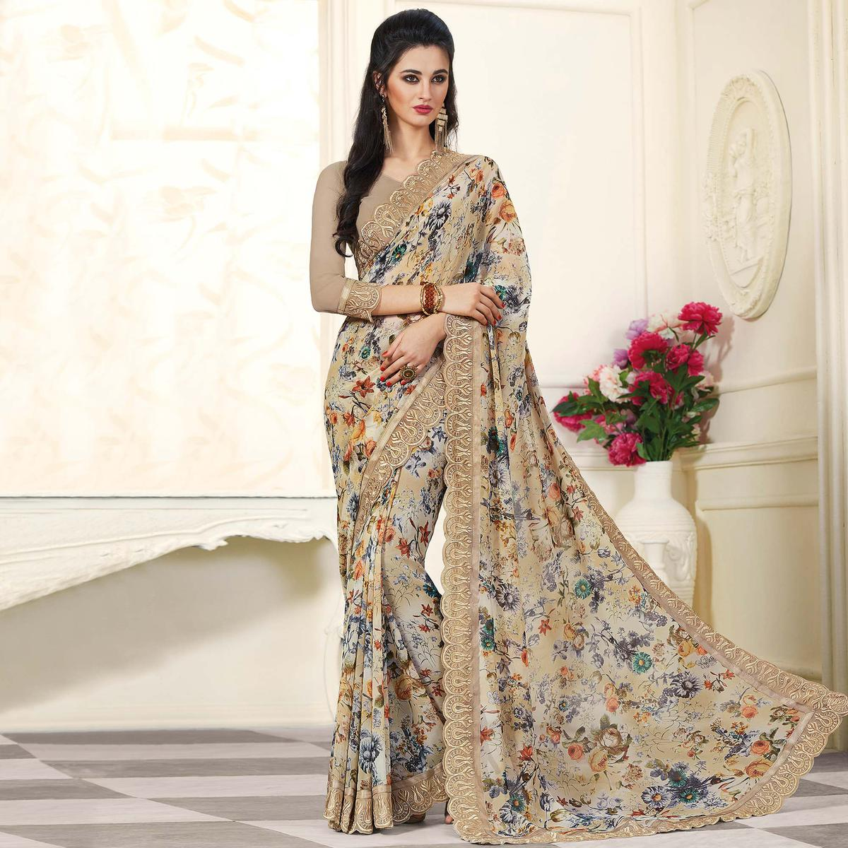 Adorable Light Brown Colored Partywear Printed Georgette Saree