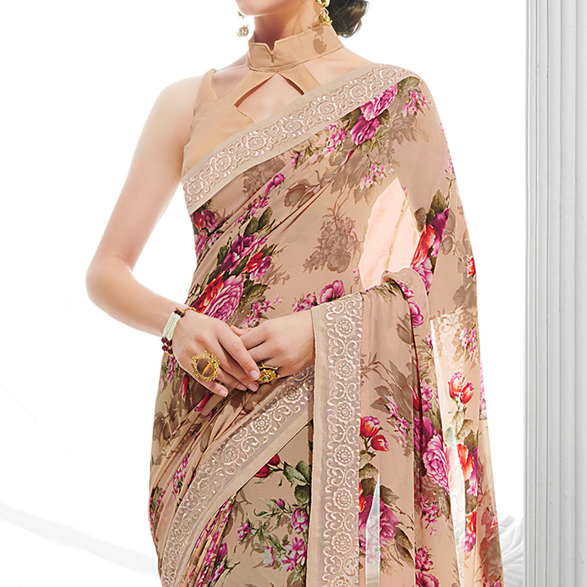 Attractive Light Peach Colored Partywear Printed Georgette Saree