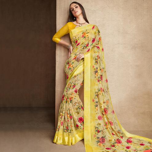 Beautiful Yellow Colored Casual Wear Printed Cotton Silk Saree