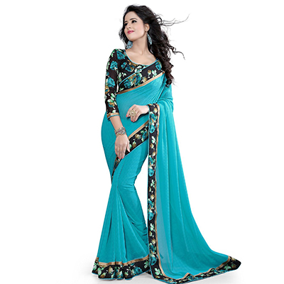 Blue Printed Lace Work Saree