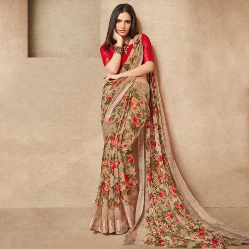 Graceful Brown Colored Casual Wear Printed Cotton Silk Saree