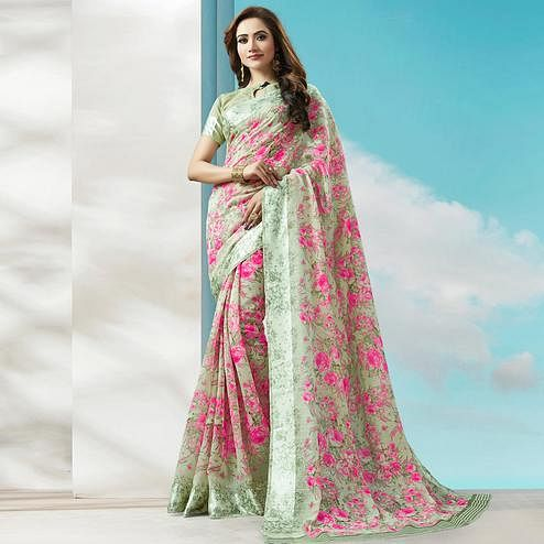 Blooming Olive Green-Pink Colored Casual Wear Printed Cotton Silk Saree