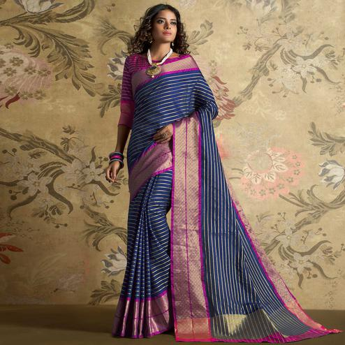 Ideal Navy Blue Colored Festive Wear Woven Silk Saree