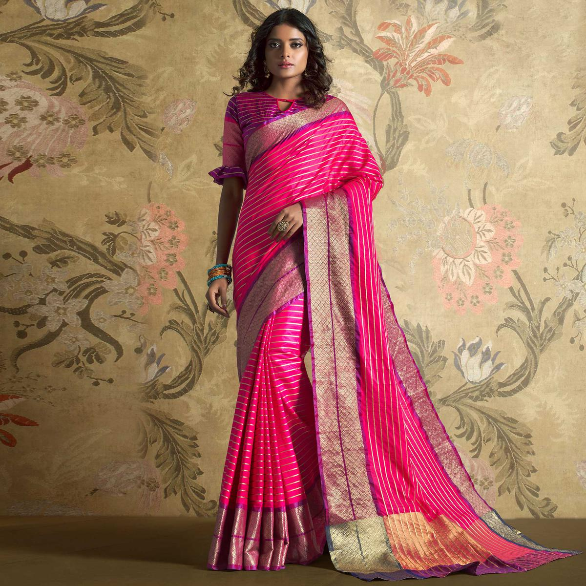 Majesty Pink Colored Festive Wear Woven Silk Saree