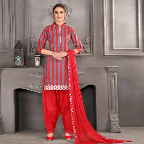 Prominent Red Colored Partywear Mirror Work Stitched Cotton Patiala Suit