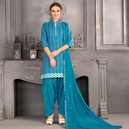 Appealing Blue Colored Partywear Mirror Work Stitched Cotton Patiala Suit