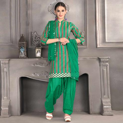 Entrancing Green Colored Partywear Mirror Work Stitched Cotton Patiala Suit