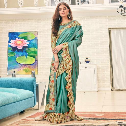 Excellent Aqua Blue Colored Partywear Digital Printed Silk Saree