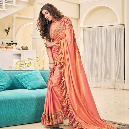 Preferable Peach Colored Partywear Digital Printed Silk Saree