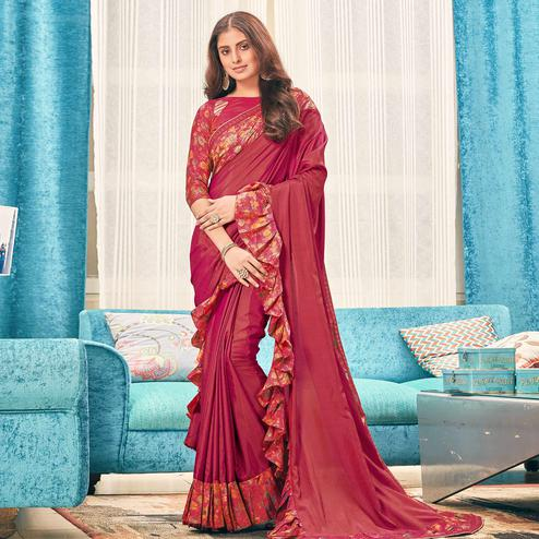 Flamboyant Dark Pink Colored Partywear Digital Printed Silk Saree