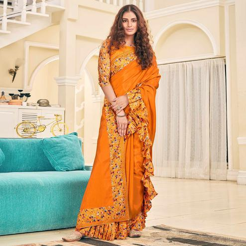 Pretty Orange Colored Partywear Digital Printed Silk Saree