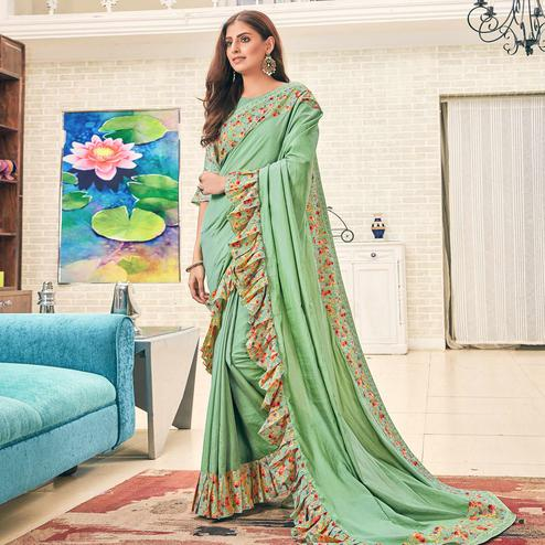 Alluring Aqua Green Colored Partywear Digital Printed Silk Saree