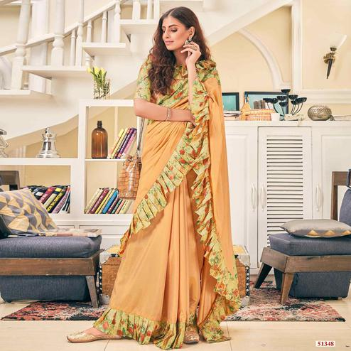 Sensational Beige Colored Partywear Digital Printed Silk Saree
