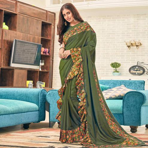 Flaunt Dark Mehendi Green Colored Partywear Digital Printed Silk Saree