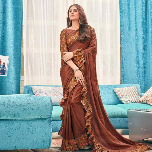 Stunning Brown Colored Partywear Digital Printed Silk Saree