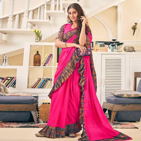Flirty Rani Pink Colored Partywear Digital Printed Silk Saree