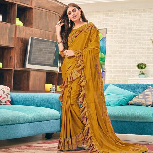 Exceptional Mustard Yellow Colored Partywear Digital Printed Silk Saree