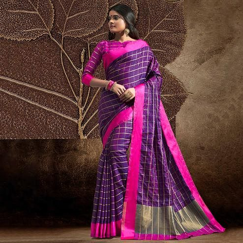 Attractive Purple Colored Festive Wear Woven Silk Saree