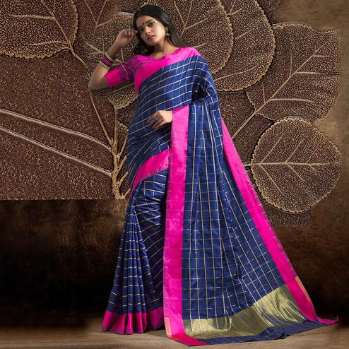 Graceful Navy Blue Colored Festive Wear Woven Silk Saree