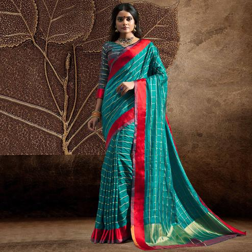 Blooming Rama Blue Colored Festive Wear Woven Silk Saree