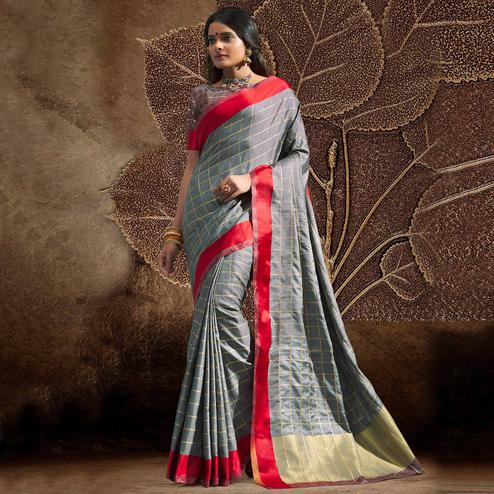 Charming Grey Colored Festive Wear Woven Silk Saree