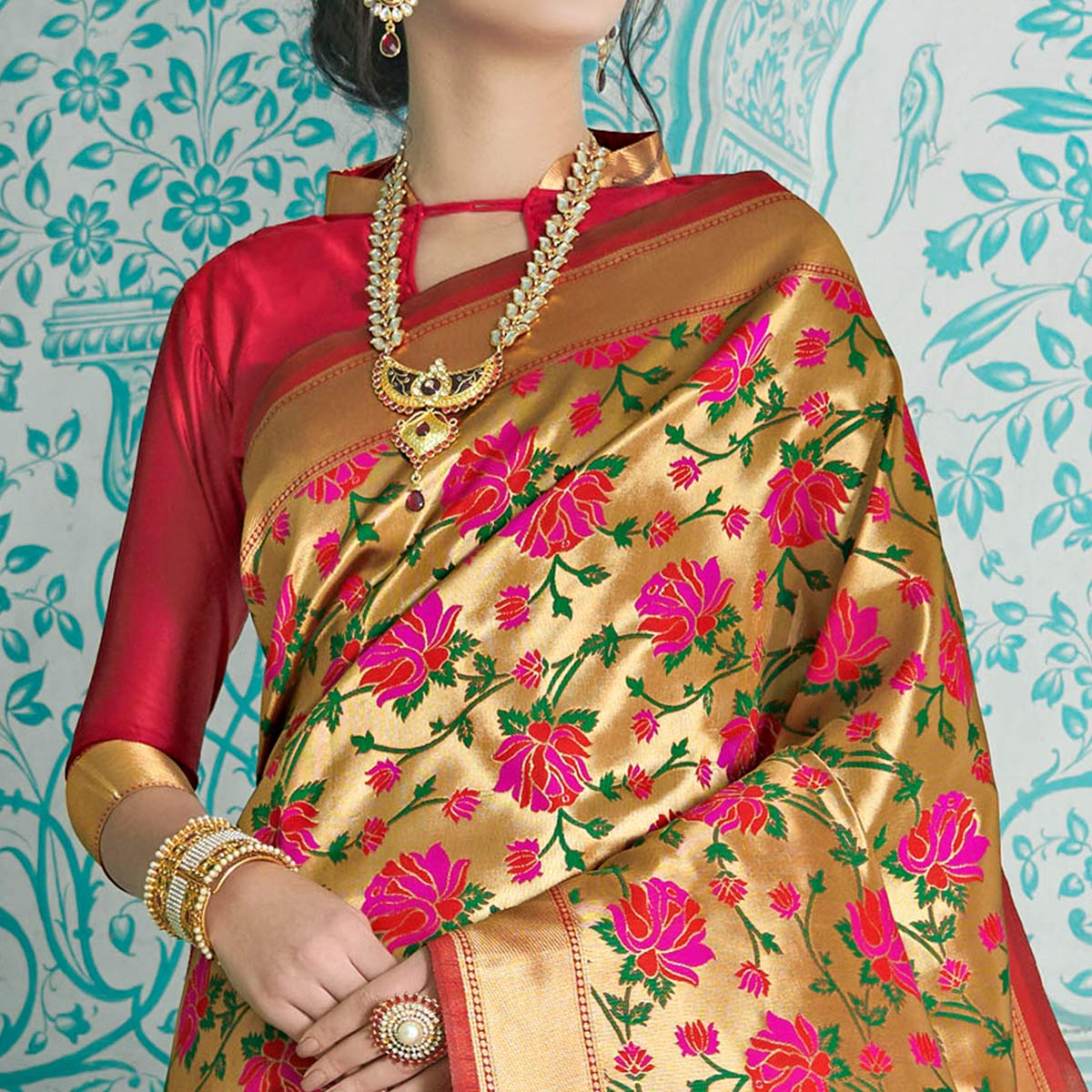 Intricate Golden-Red Colored Festive Wear Woven Paithani Banarasi Silk Saree
