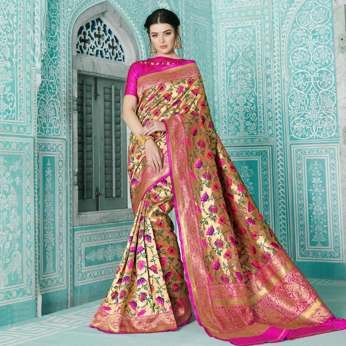 Arresting Golden-Pink Colored Festive Wear Woven Paithani Banarasi Silk Saree