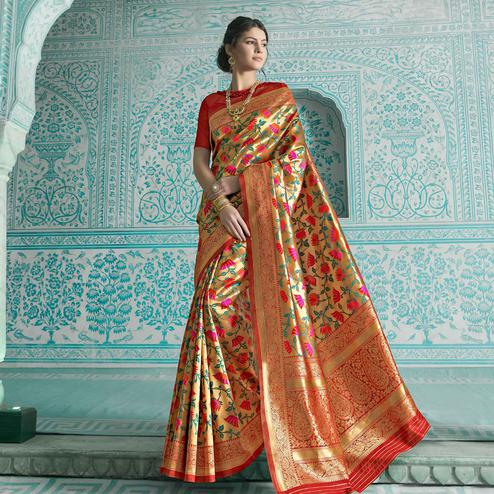 Desirable Golden-Orange Colored Festive Wear Woven Paithani Banarasi Silk Saree