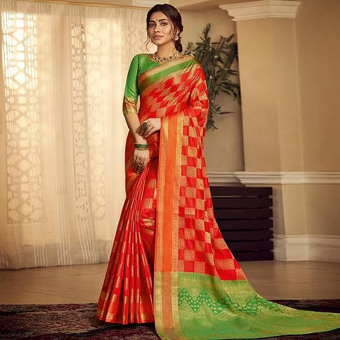 Prominent Red Colored Festive Wear Woven Silk Saree