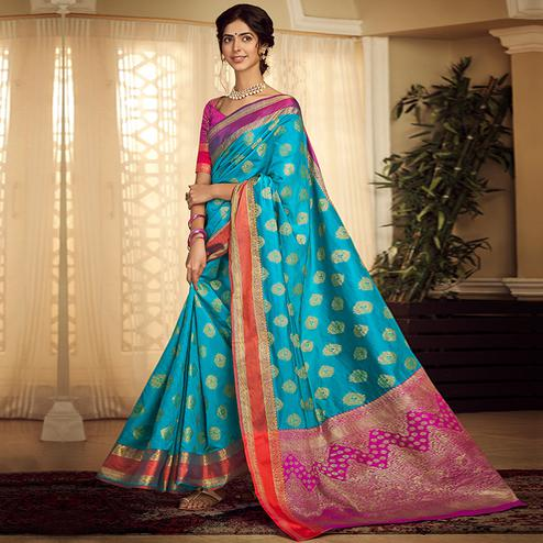 Glorious Sky Blue Colored Festive Wear Woven Silk Saree