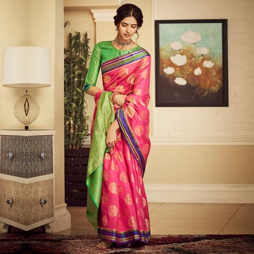 Desirable Pink Colored Festive Wear Woven Silk Saree