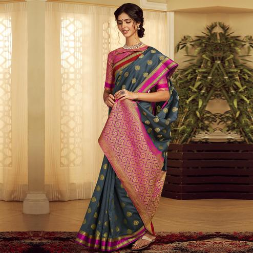 Appealing Dark Grey Colored Festive Wear Woven Silk Saree