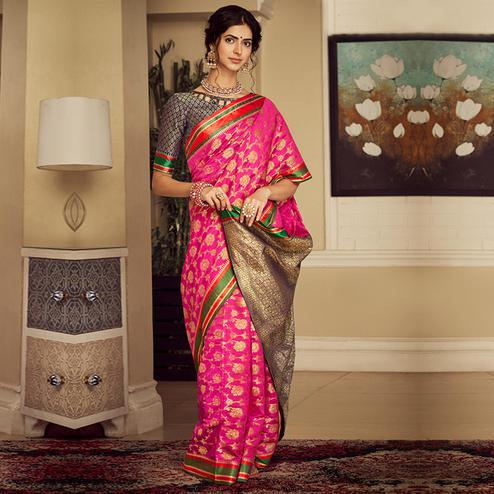 Capricious Dark Pink Colored Festive Wear Woven Silk Saree