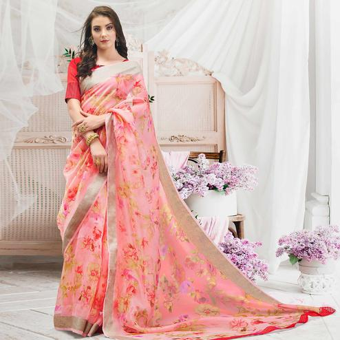 Magnetic Pink Colored Casual Wear Floral Printed Organza Saree