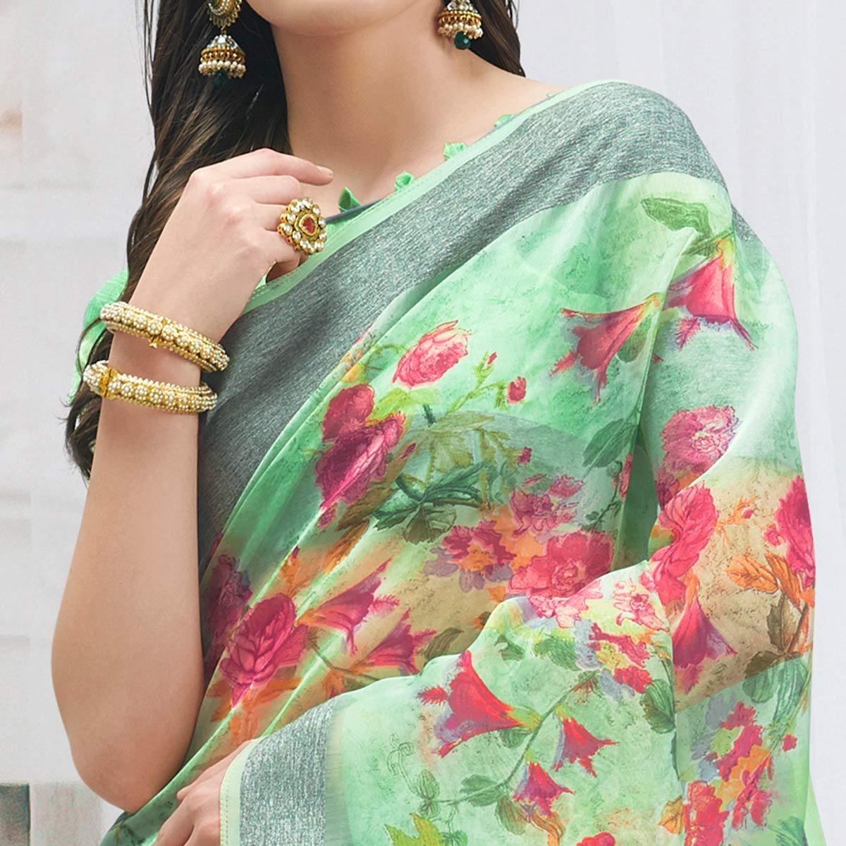 Hypnotic Green Colored Casual Wear Floral Printed Organza Saree