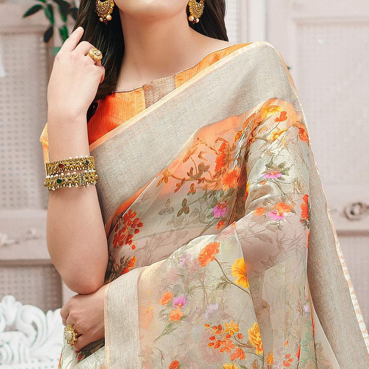 Flattering Beige Colored Casual Wear Floral Printed Organza Saree